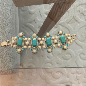Gold, White and Turquoise cuff bracelet